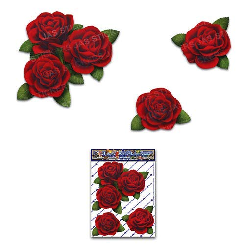 JAS Stickers Rose Flower Car Decal - Red Corners Small Vinyl Sticker Pack for Laptop Bicycle Caravans Trucks & Boats - ST00066RD_SML