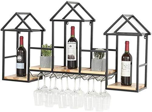 Elegante Botellero, Vino Bastidores creativo sólido bastidor de madera del vino  Montado en la pared del vino armario rack  Pared de la cocina sostenedor de la exhibición del estante del vidrio de vin