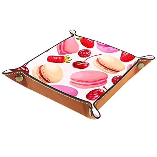 Bandeja del valet del almacenamiento del escritorio, almacenamiento plegable de cuero de la joyería de la bandeja Macarons de la fresa de cerezo para escritorio, oficina, llave, joyería