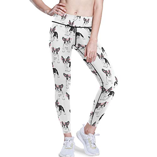 French Bulldog With Pink Glasses On White Stretchy High Waist Yoga Pants, Women Tummy Control Leggings with Hidden Pockets, Workout Sports Running Athletic Tights(M)