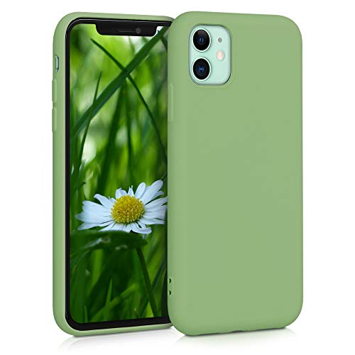 kwmobile Slim Hülle kompatibel mit Apple iPhone 11 - Hülle Silikon Handy - gummiert - Handyhülle Matcha Grün