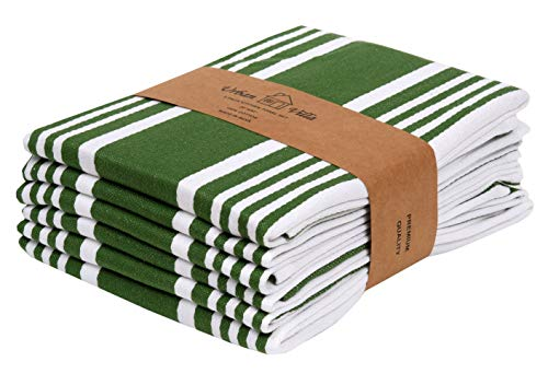 Urban Villa Set of 6 Kitchen Towels Highly Absorbent 100% Cotton Dish Towel 20X30 Inch with Mitered Corners Trendy Stripes Olive Green/White Bar Towels & Tea Towels