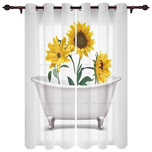"""USOPHIA Grommet Semi Sheer Window Treatment,Sunflowers on The Bathtub Creative Design Living Room Bedroom Window Drapes 2 Panel Set, 27.5"""" x 39"""""""