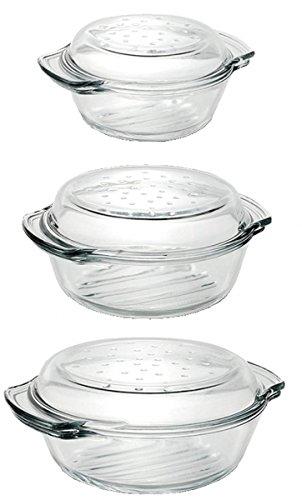 Einzelne Glas Auflaufformen mit Deckel Grill & Drop in versch. Größen zur Auswahl Größe 2,4L