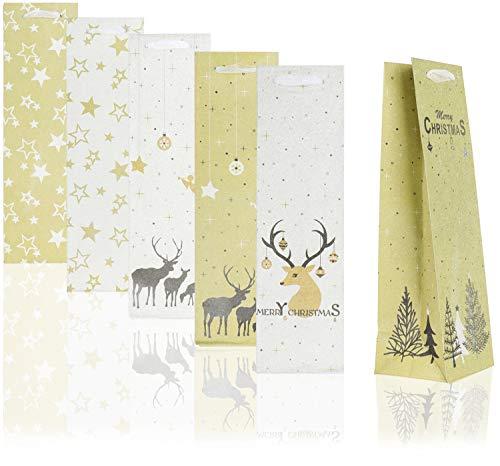 COM-FOUR® 6x geschenkzakje met kerstmotieven - glitterzakje voor wijn en champagneflessen - fleszakje voor kerst en de kerstman [selectie varieert] (06 stuks - glitter mix)