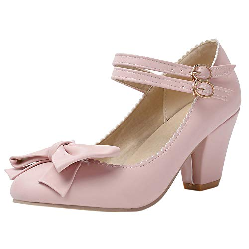 DunaCuna Damen Klassischer Blockabsatzs Pumps Schuhe Bogen Party Schuhe Fesselriemen Buro Pumps Pink Gr 34 Asian
