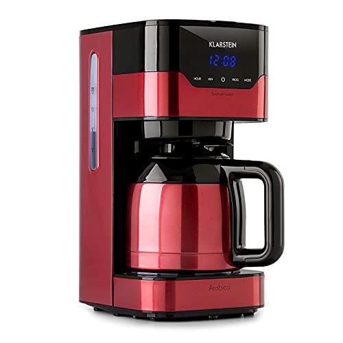 KLARSTEIN Arabica - Macchina per Caffè Americano, con Filtro, 800 Watt, EasyTouch Control, 1,2 L, fino a 12 Tazze, incl. Filtro Permanente, Rosso/Nero