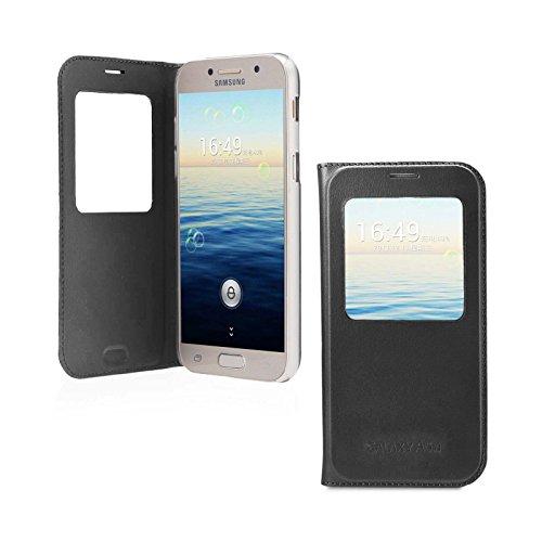 Lincivius Cover Samsung A3 2017, Custodia Samsung Galaxy A3 2017 Portafoglio Flip Case Nero Slim Case Wallet Protettiva S View Finestra di Visualizzazione - Altri Colori Disponibili -