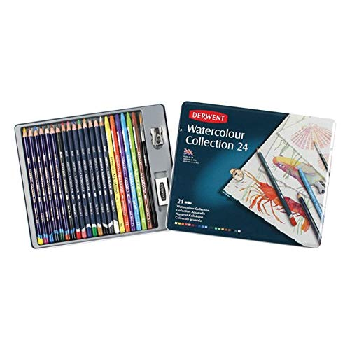Derwent Colored Pencils, Watercolor, Water Color Pencils, Drawing, Art, Metal Tin, 24 Count (0700304)
