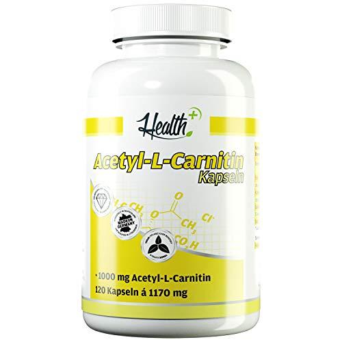 Health+ Acetyl-L-Carnitin Kapseln hochdosiert - 120 L-Carnitin-Kapseln mit 1000 mg pro Kapsel, optimaler Carnitin-Komplex als Nahrungsergänzung, 170 g
