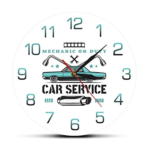 Mecánico de Servicio, Servicio de Coche, Garaje, Reloj de Pared Personalizado, Tienda de reparación de Coches Antiguos, Logotipo publicitario, Reloj de Pared Personalizado para señal de Coche