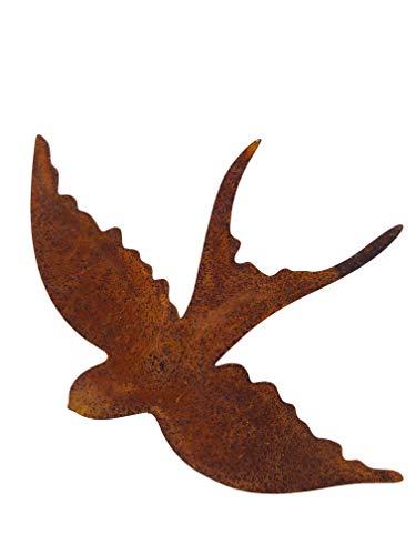 ecosoul Gartendeko Schwalbe fliegend mit Dorn hinten zum Befestigen Ostern Wand-Dekoration Baumtier Metall Rost Deko