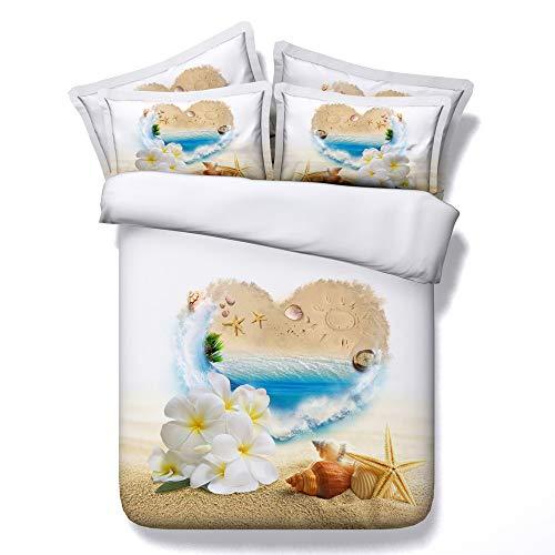 Sticker superb Belle Bleu Mer Conque Fleur Parures de Lit avec Taie d'oreiller, Dame Homme Coton Housse de Couette Dortoir Salon (Plage Fleur, 220_x_240_cm)