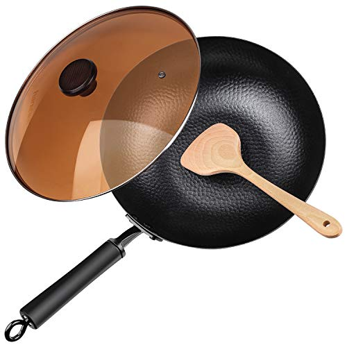 """Carbon Steel Wok, 12.5"""" Nonstick Fry Wok Cooking Wok Pan Chinese Iron Pot for Electric, Induction and Gas Stoves Cooking"""
