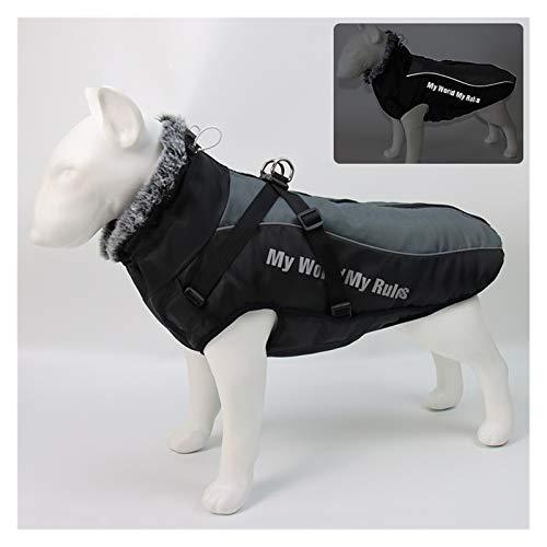 Vêtement pour Animal de Compagnie Grande veste de chien Collier de fourrure chiens d'hiver vêtements pour animaux de compagnie imperméable gros chien manteau avec harnais amovible Bulldog French Bulld