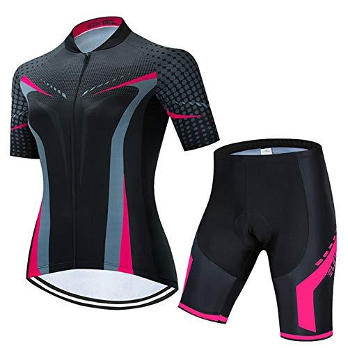 Cycling Clothing Ciclismo Jersey Conjuntos Ciclismo Ropa Set Mujeres Mujeres Summer Bike Ropa transpirable Anti-UV Bicicleta Use Manga corta (Color : 2, Size : XL)