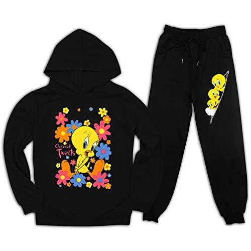 Tw-Eety - Tuta con cappuccio per bambini, 2 pezzi, con cappuccio e pantaloni della tuta per ragazzi e ragazze Nero XX-Large