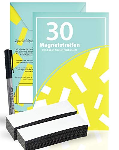30 wiederbeschreibbare Magnetstreifen, Etiketten inkl. Faber-Castell Markenstift [ Farbe: Weiß | Größe: 100x30mm ] | Perfekt für Whiteboard, Kühlschrank, Flipchart, Pinnwand, Werkstatt und vieles mehr