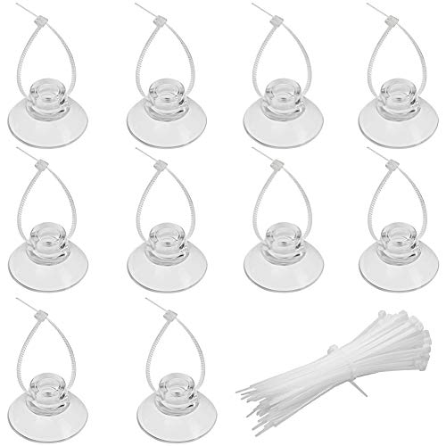 Pawfly 10 Pack Suction Cups with 20 Pieces Adjustable Zip Ties for Aquarium Fish Tank Binding Moss Shrimp Dodging Nest