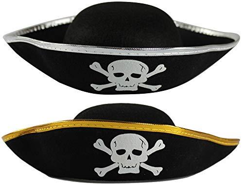 com-four® 2x Piratenhut mit Totenschädel - Hut für Kinder und Erwachsene mit silberfarbener + goldfarbener Krempe - Kostüm für Fasching, Karneval, Halloween (02 Stück - Pirat goldfarben/silberfarben)