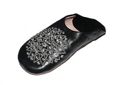 Marrakech Accessoires Orientalische Schuhe Babouche Hausschuhe Pantoffel Slipper aus Marokko - Damen - 905363-0043, Schuhgrösse:40