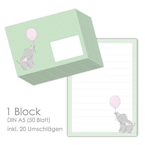 niedliches Briefpapier Set für Kinder mit Motiv ELLI ELEFANT im Format DIN A5 (liniert 50 Blatt) inklusive 20 passenden Umschlägen