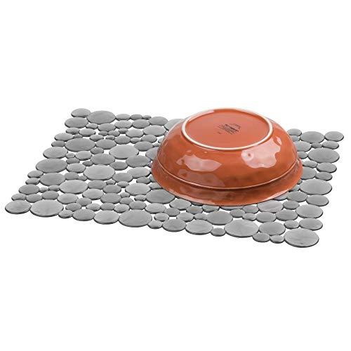 iDesign Alfombrilla escurreplatos para fregadero, rejilla de plástico de tamaño grande, tapete protector para fregaderos de acero inoxidable y cerámica, gris