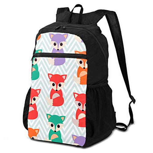 JOCHUAN Foldable Backpacks Cute Bright Foxes Foldable Day Backpack Travel Foldable Daypack Lightweight Waterproof for Men & Womentravel Camping Outdoor