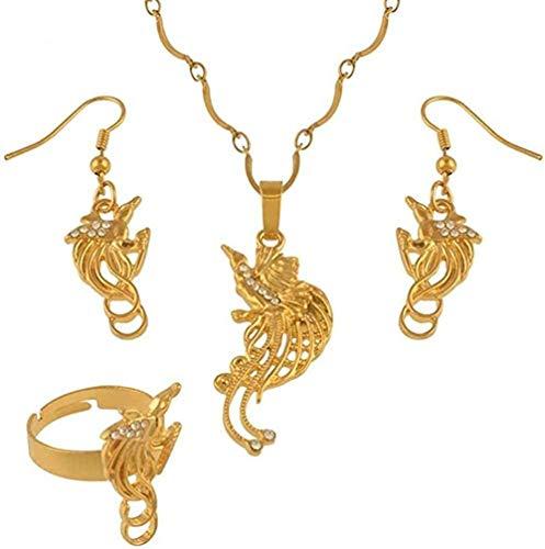 huangxuanchen co.,ltd Collar de pájaro Feliz, Pendientes, Anillos, Conjuntos de Joyas para Mujeres, joyería étnica de Papua Nueva Guinea, Regalos, Longitud 60Cm