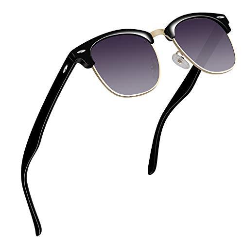 VVA Sonnenbrille Herren klassischer Retro-Halbrahmen Polarisiert Sonnenbrillen für Herren Damen V102(Gold Violett)