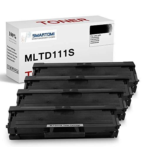 SMARTOMI, confezione da 4, cartucce toner nero MLT-D111S compatibili con Samsung MLTD111S per uso con stampanti Xpress serie SL- M2026 M2020 M2070 M2022 M2071 M2074 M2077 M2078