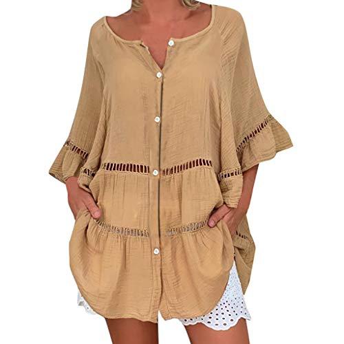 QinMMROPA Blusa Hueca de algodn y Lino para Mujer Camiseta Botones con Cuello en V y Tallas Grandes Camisa Suelta Casual Caqui L