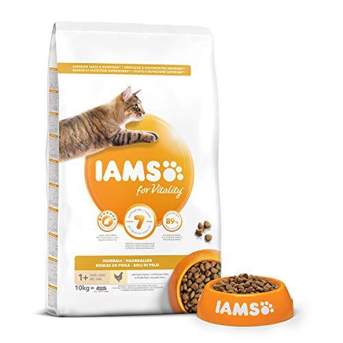 IAMS Vitality - Croquettes Super Premium Chats Adultes et Séniors Anti Boules de Poils - 100% Complètes et équilibrées - Au Poulet - Sans OGM Colorant Arôme Artificiel - Sac refermable de 10 kg