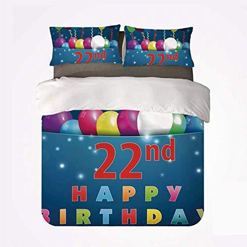 Miwaimao 22 cumpleaños Decoraciones Fiesta Nacimiento con Globos de Colores Deseos Imagen de ocasión Alegre,Juego de Ropa de Cama con Funda nórdica de Microfibra y 2 Funda de Almohada - 200 x 200 cm