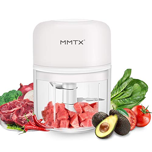 MMTX Mini Picadora Eléctrica Pequeño Procesador Portatil Batidoras licuadora Frutas Picadora de Alimentos para Picar Vegetales, Triturador de para Carne, Cebolla y Nueces USB Recargable 3.7V 250ml