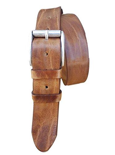 ESPERANTO Cintura in cuoio di toro 4cm, bottalato e stropicciato (3 varianti colore) (TAGLIA 54-125 CM -GIROVITA 110 CM, miele)