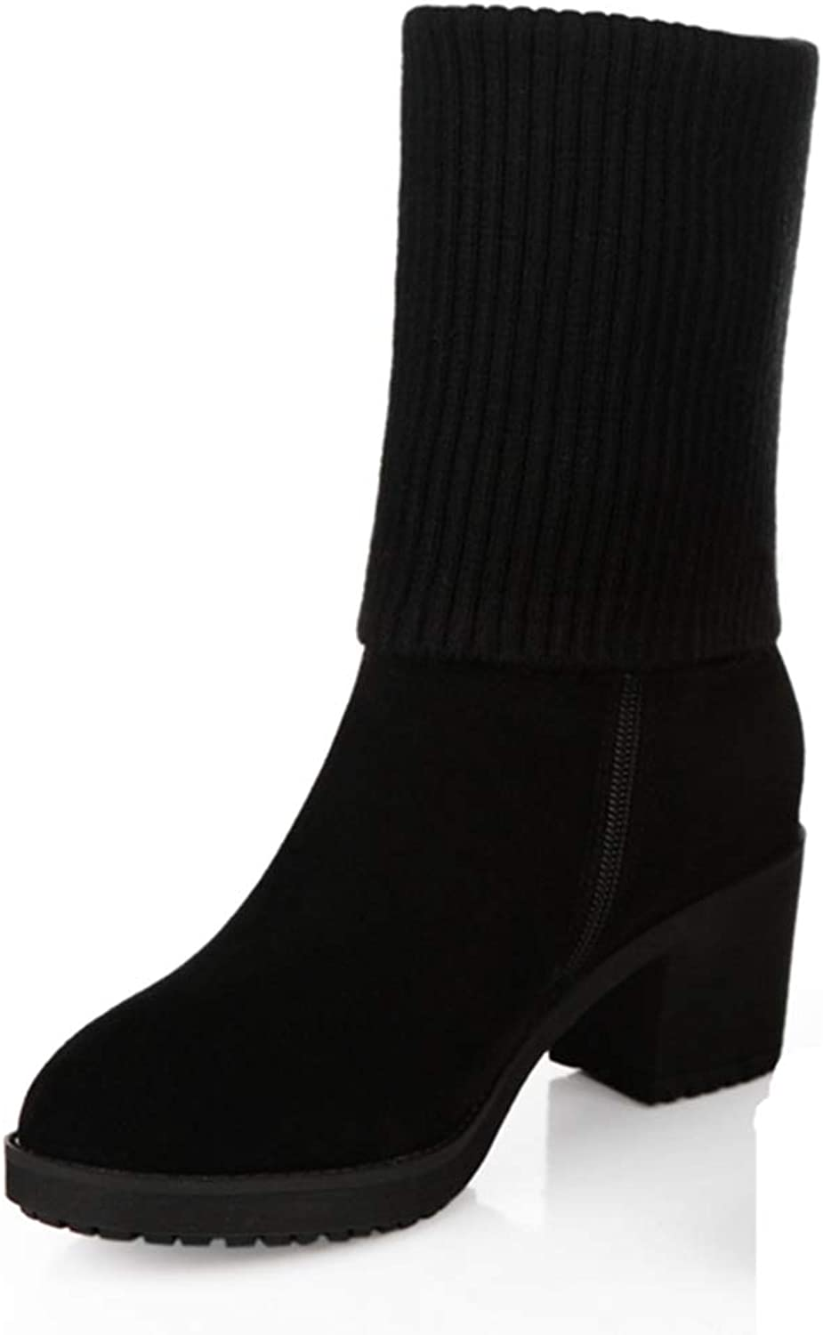 T-JULY Winter Women Nubuck Leather Stretch Knitting High Top Boots Thick Heel Mid Calf Boots with Plush Woman Warm shoes