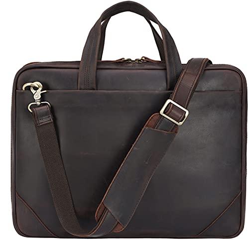 TIDING Genuine Leather Briefcase for Men 15.6 Inch Laptop Crossbody Shoulder Messenger Bags Slim Brown Computer Case Handbag for Business Travel Work