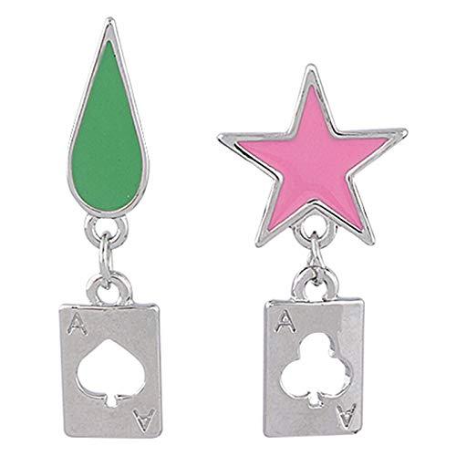 Ailin Online Anime HUNTER×HUNTER Hisoka Earring Unique Star&Teardrop Ear Drop Cosplay Ear Stud Nice Jewelry Gift for Fans