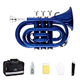 EastRock Pocket Trumpet Brass Bb Trumpet with 7 C Mouthpiece, Hard Case, Strap, White Gloves, Cleaning Kit for Students and Beginners(Blue)