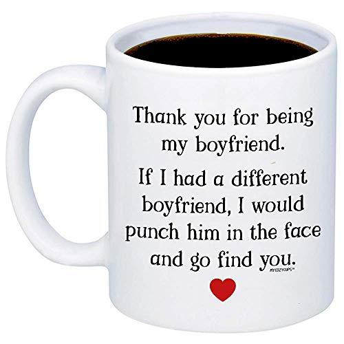 Regalos para novio - gracias por ser mi taza de café bf - divertida taza única de 11 oz para parejas, Pareja, él, Hombres - regalo de san valentín, Cumpleaños, Aniversario, Broma navideña