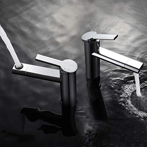 Fácil de Instalar 360 & deg;Grifo Giratorio Agua Superior e Inferior Moderno Minimalista Baño de Hotel Grifo de Cobre Grifo de Lavabo frío y Caliente Grifo de Lavabo de baño (Color: Negro)