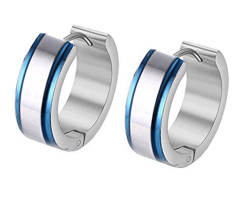 Gumoni - Pendientes pequeños para mujer, 1 par, titanio, acero, azul, 1,2 x 0,4 cm