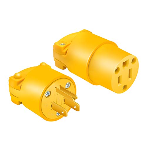 STARELO Electrical Replacement Plug & Connector Set Extension Cord Ends Yellow Shell 125V 15A 2Pole 3Wire NEMA 5-15P & 5-15R Industrial Grade 3-Prong Straight Blade Grounding Type(1)