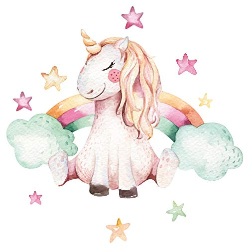 dekodino Adesivo murale acquerello unicorno con arcobaleno deco