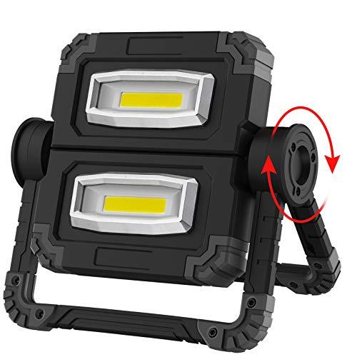 RUNACC LED Lampada da Lavoro USB Ricaricabile Lampada Emergenza Faro LED Portatile Emergenza Faretto Pieghevole Faro da lavoro Lampada Esterni con Rotazione a 360 °(Black)