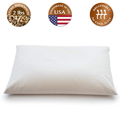 "ComfyComfy Buckwheat Hull Pillow, Standard Size (20"" x 26""), with Extra 2 lbs of Buckwheat Hulls..."