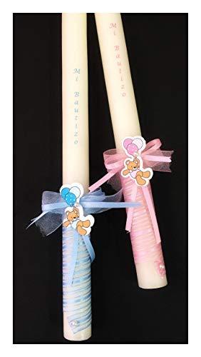 Vela de bautizo. Decoradas con cinta en espiral y un lacito con perla y un osito colgado de globos - medidas 30x2 cm