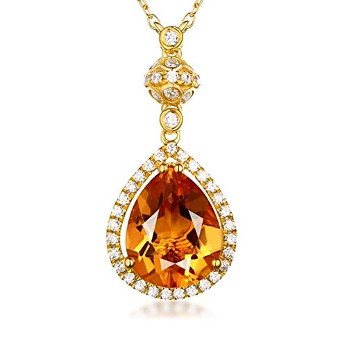 Aartoil Women 18K Yellow Gold Pendant Necklace 1.95ct Pear Citrine Diamond Necklace for Her Gold