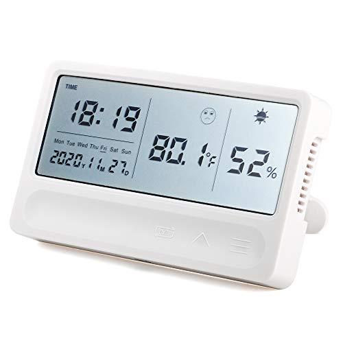 温湿度計 温度計 温度 湿度 時計付き 壁掛け デジタル温湿度計 LCD大画面 湿度異常アラーム機能付き 置掛兼用
